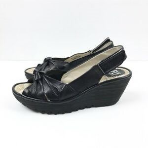 Fly London Yata black leather wedge sandal 36
